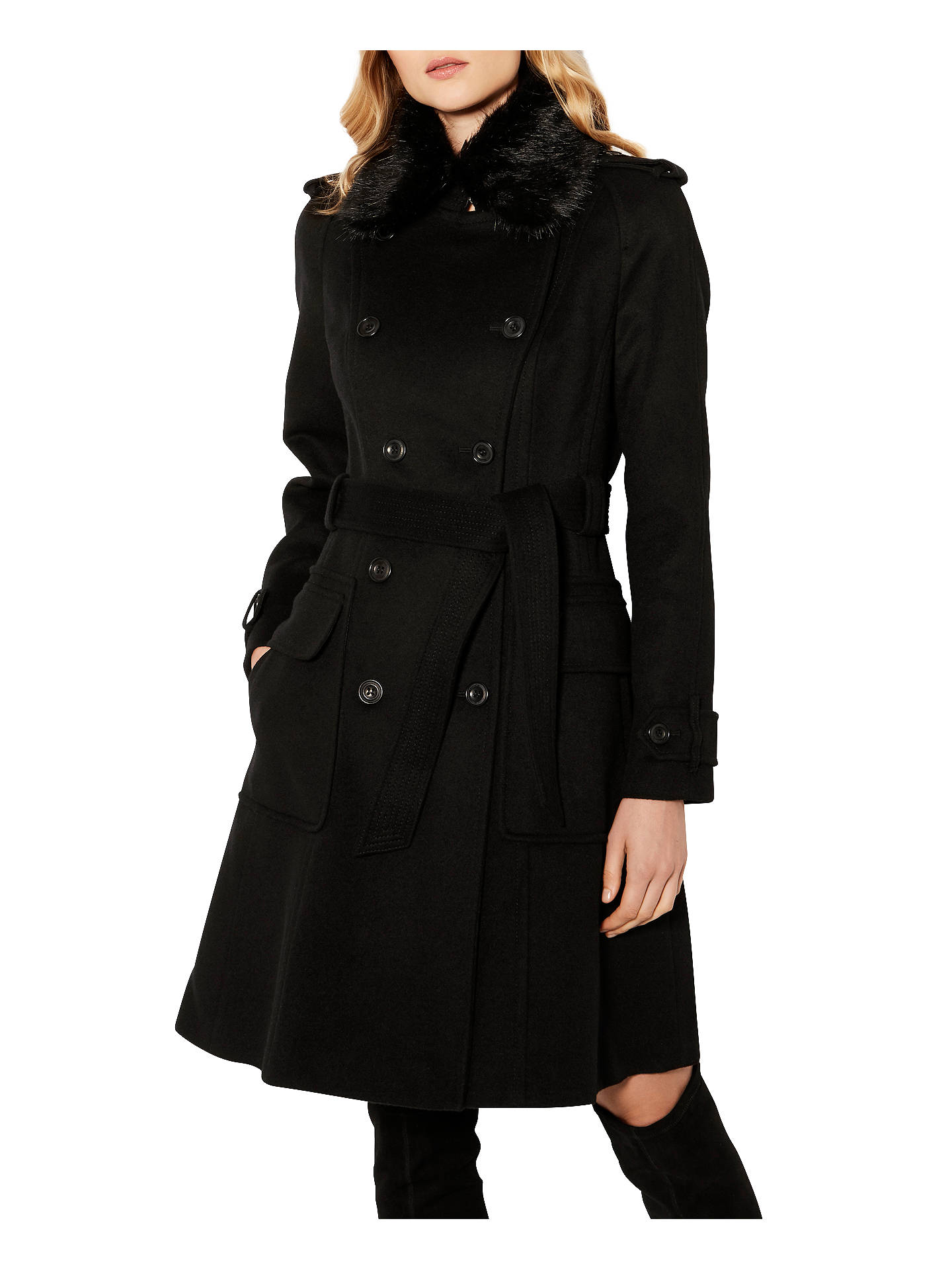 pick up big selection of 2019 largest selection of 2019 Karen Millen Classic Investment Coat, Black at John Lewis ...