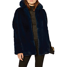 Buy Karen Millen Faux Fur Coat, Blue Online at johnlewis.com