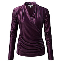 Buy Pure Collection Velour Soft Jersey Wrap Top, Damson Online at johnlewis.com