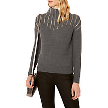 Buy Karen Millen Knitted Marl Stud Jumper, Dark Grey Online at johnlewis.com