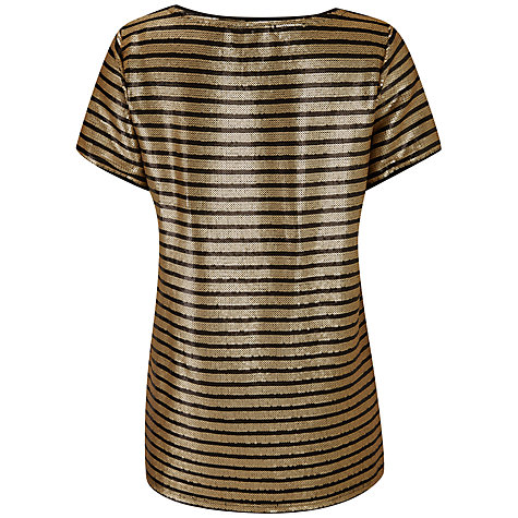Buy Pure Collection Sequin Stripe T-Shirt, Gold/Black Online at johnlewis.com