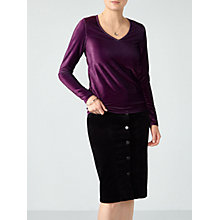 Buy Pure Collection Soft Jersey Velour Top, Damson Velour Online at johnlewis.com