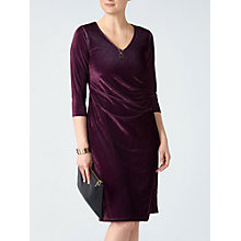 Buy Pure Collection Velour V-Neck Jersey Dress, Damson Online at johnlewis.com