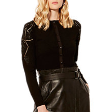 Buy Karen Millen Beaded Cutwork Cardigan, Black Online at johnlewis.com