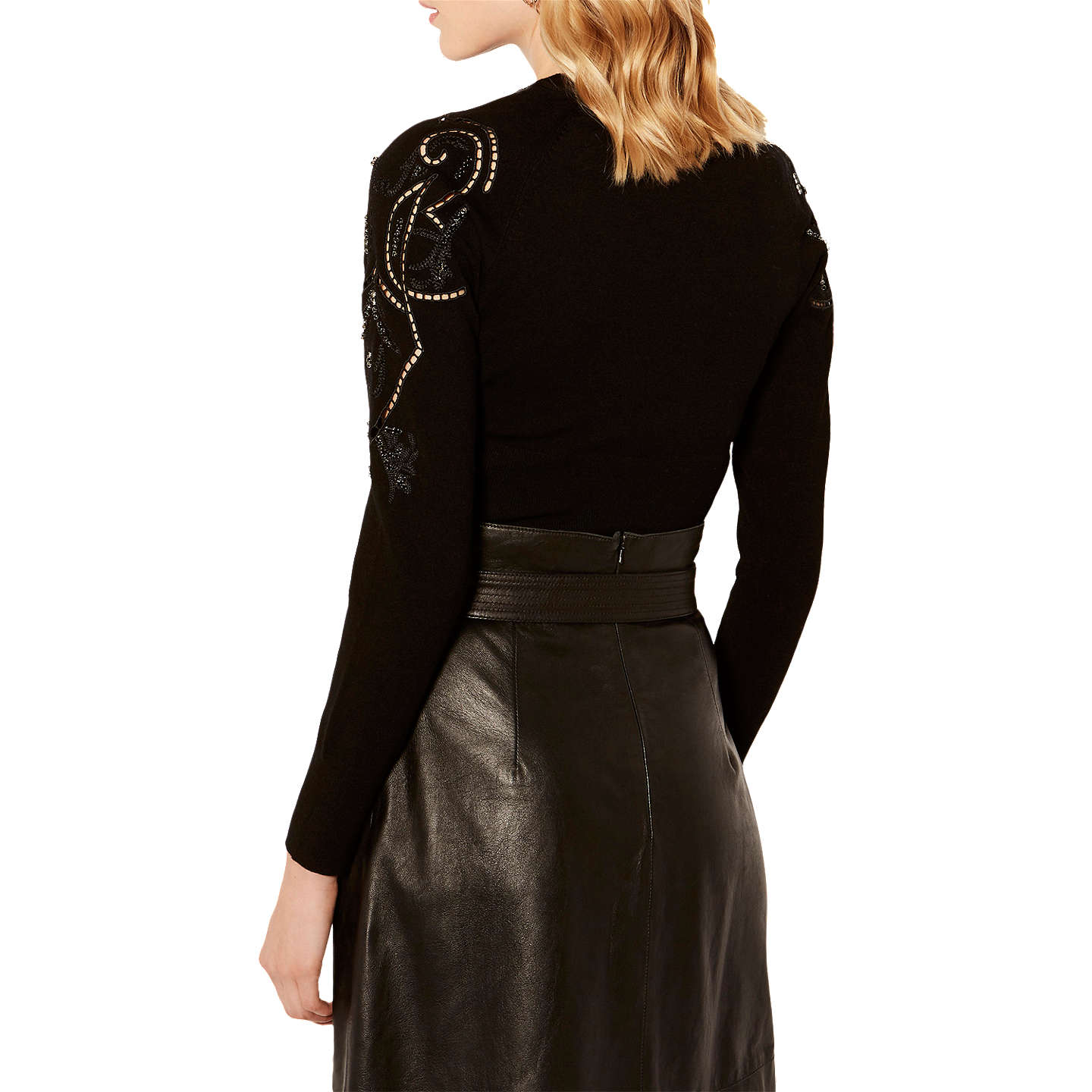 BuyKaren Millen Beaded Cutwork Cardigan, Black, XS Online at johnlewis.com