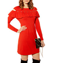 Buy Karen Millen Frill And Stud Knitted Dress, Red Online at johnlewis.com