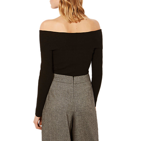 Buy Karen Millen Bardot Ribbed Jumper, Black Online at johnlewis.com