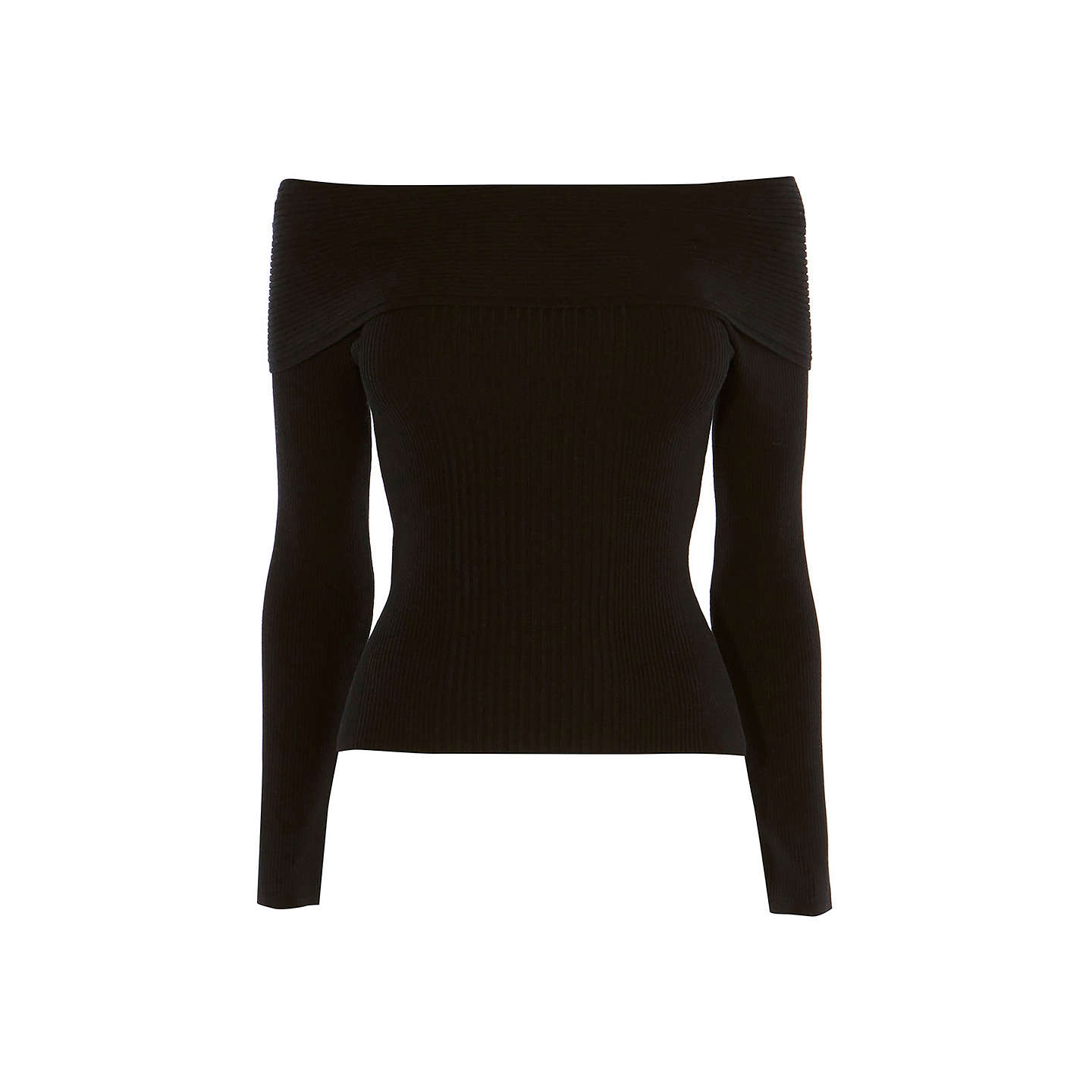 BuyKaren Millen Bardot Ribbed Jumper, Black, XS Online at johnlewis.com