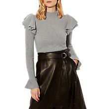 Buy Karen Millen Ruffle Turtleneck Jumper, Grey Online at johnlewis.com