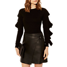 Buy Karen Millen Ruffle Crew Neck Jumper, Black Online at johnlewis.com