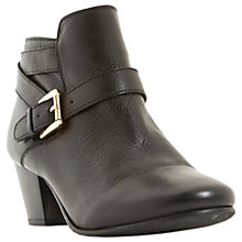 Buy Dune Perda Block Heeled Ankle Boots, Black Leather Online at johnlewis.com