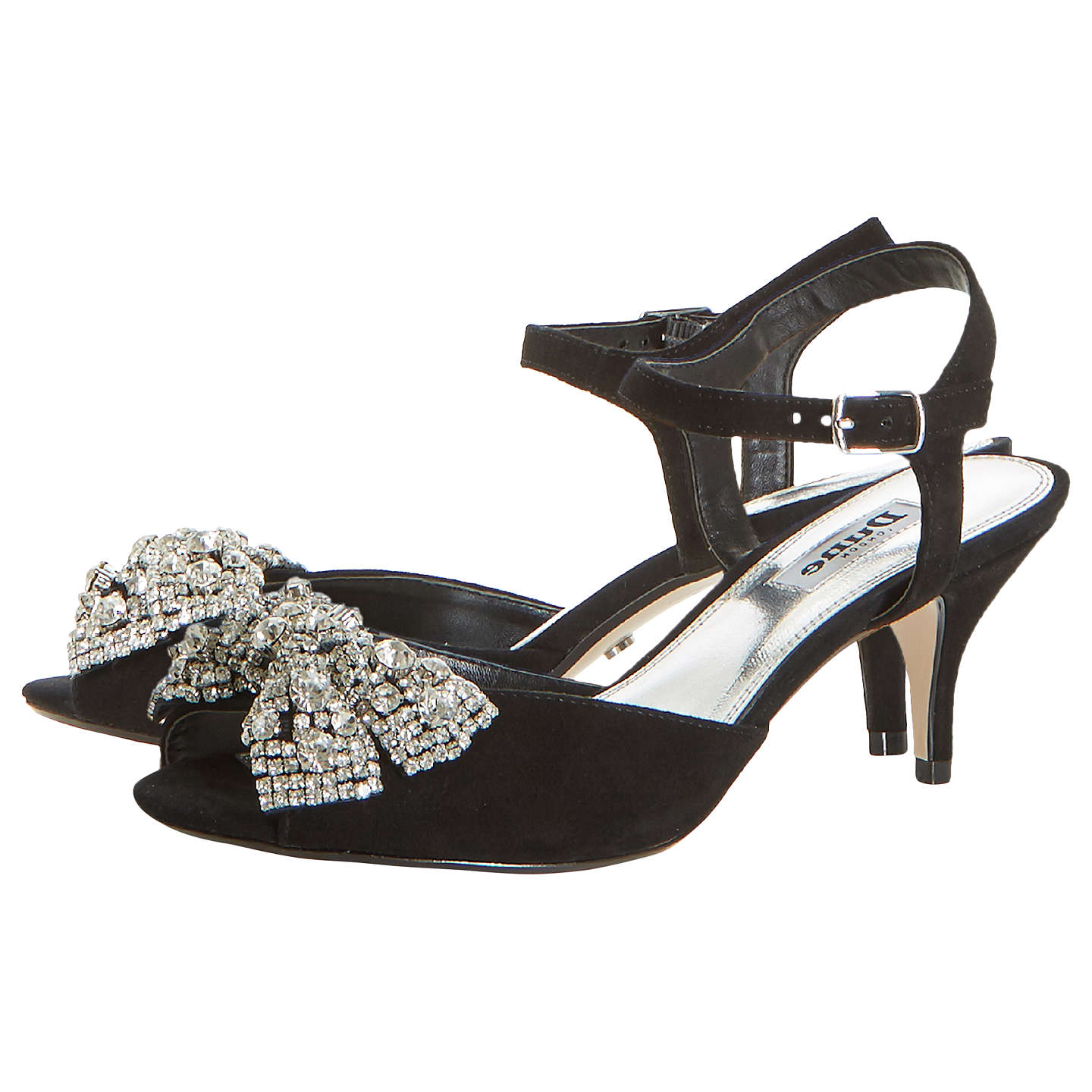 BuyDune Majestie Kitten Heel Sandals, Black Suede, 3 Online at johnlewis.com