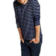 Buy Joules Sandton Long Sleeve Stripe T-Shirt, Ink Blue Stripe Online at johnlewis.com