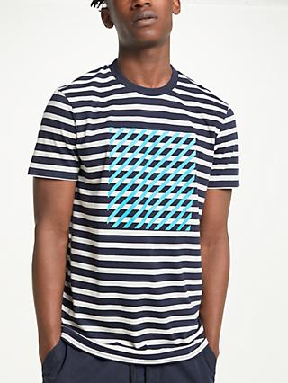 Kin Diagonal Graphic Stripe T-Shirt, Navy