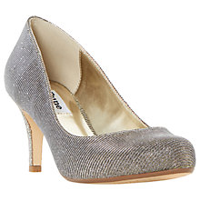 Buy Dune Amelia Stiletto Heeled Court Shoes, Gold Fabric Online at johnlewis.com