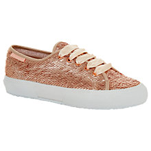 Buy Superga 2750 Sequin Trainer Plimsolls, Rose Gold Online at johnlewis.com