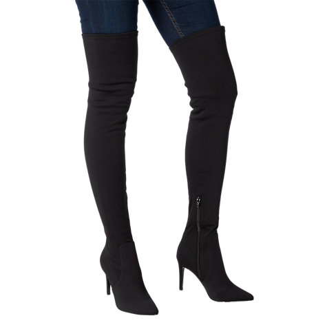 Buy Dune Sloanne High Heel Over the Knee Boots, Black Fabric Online at johnlewis.com