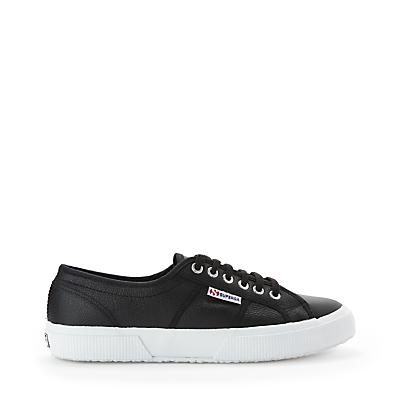 Superga 2750 Classic Trainer Plimsolls, Black/White Leather