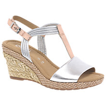 Buy Gabor Jess Wide Fit Wedge Heeled Sandals, Silver Leather Online at johnlewis.com