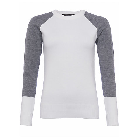 Buy French Connection Colourblock Crew Neck Jumper, White/Grey Online at johnlewis.com