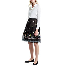 Buy French Connection Bijou Stitch Flared Skirt, Black/Multi Online at johnlewis.com