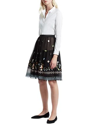 French Connection Bijou Stitch Flared Skirt, Black/Multi