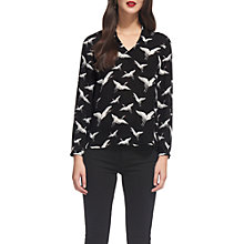 Buy Whistles Tia Crane Print V-Neck Blouse, Black/White Online at johnlewis.com