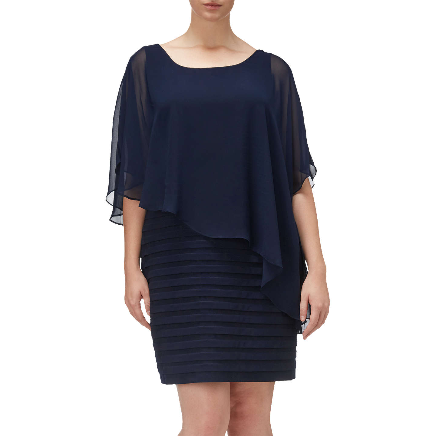 Adrianna Papell Plus Size Banded Dress With Chiffon Overlay Eclipse