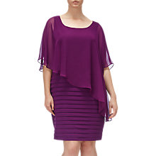 Buy Adrianna Papell Plus Size Chiffon Drape Overlay Banded Dress, Winter Blackberry Online at johnlewis.com