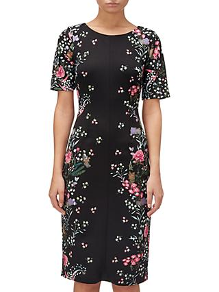 Adrianna Papell Floral Printed Sheath Dress, Black