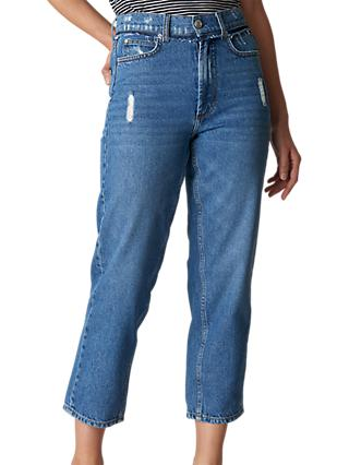 Whistles Hollie Straight Leg Jeans, Denim Blue