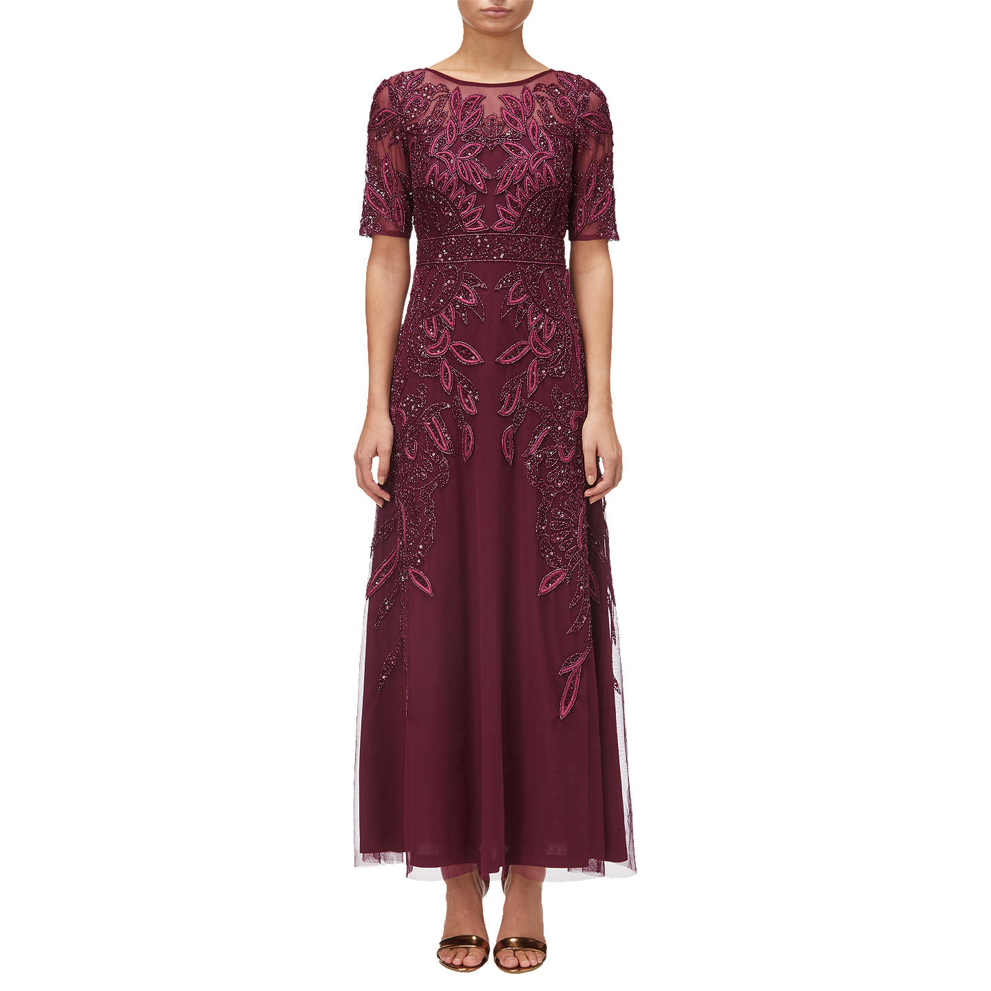 BuyAdrianna Papell Petite Floral Beaded Long Gown, Cabernet, 6 Online at johnlewis.com