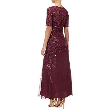 Buy Adrianna Papell Petite Floral Beaded Long Gown, Cabernet Online at johnlewis.com