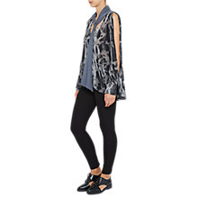 Buy French Connection Brigitte Velvet Tie Neck Floral Blouse, Dark Bonfire Blue Online at johnlewis.com
