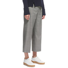 Buy Whistles Check Cropped Wide Leg Trousers, Grey Online at johnlewis.com