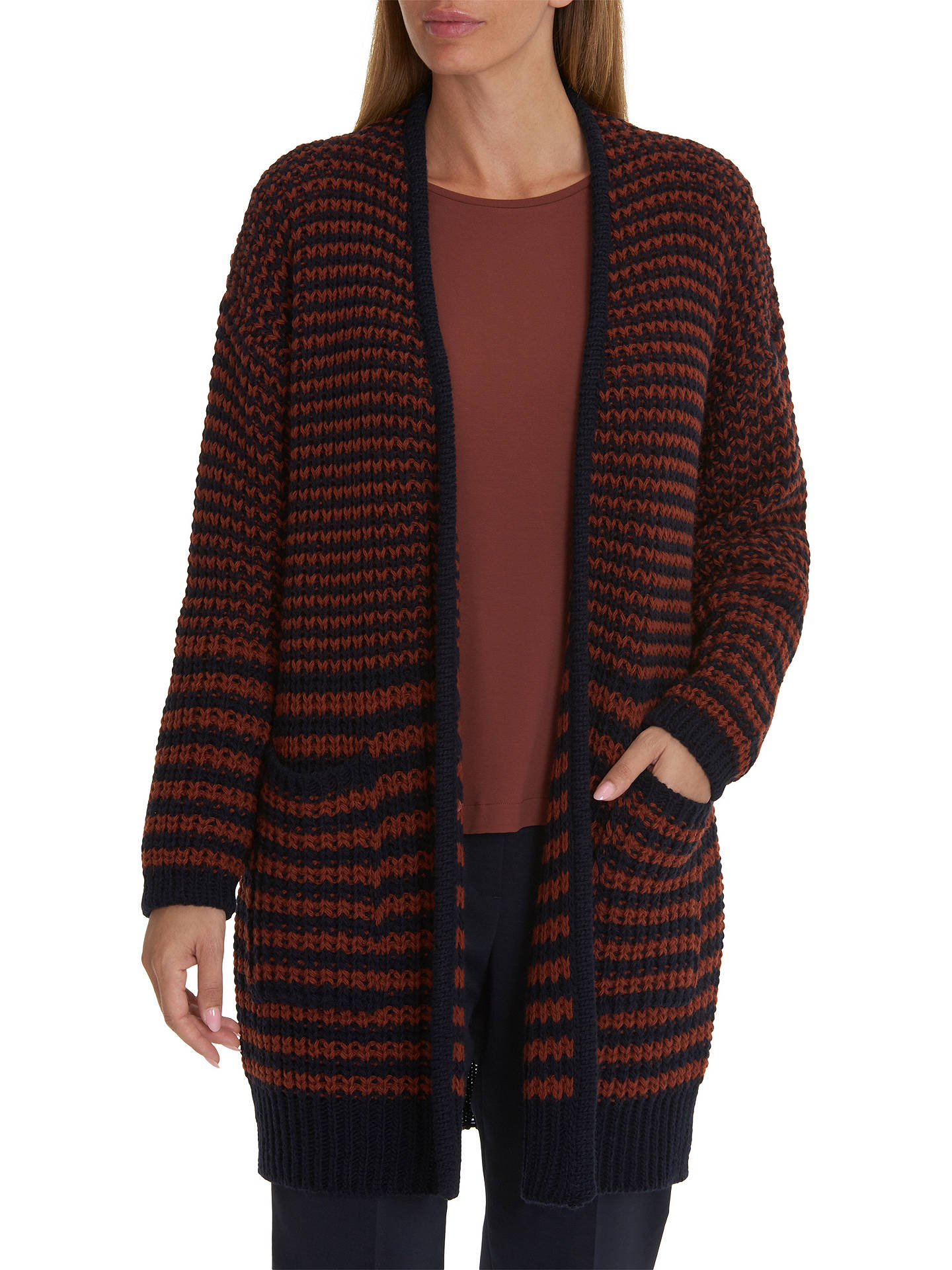 Buy Betty & Co. Long Textured Cardigan, Dark Blue/Brown, 10 Online at johnlewis.com