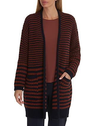 Betty & Co. Long Textured Cardigan, Dark Blue/Brown