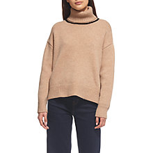 Buy Whistles Funnel Neck Tipped Jumper, Neutral Online at johnlewis.com
