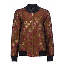 Buy French Connection Oma Jacquard Bomber Jacket, Beaujolais/Gold Online at johnlewis.com