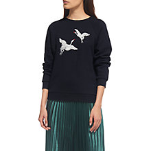 Buy Whistles Crane Embroidered Sweat Top, Navy Online at johnlewis.com