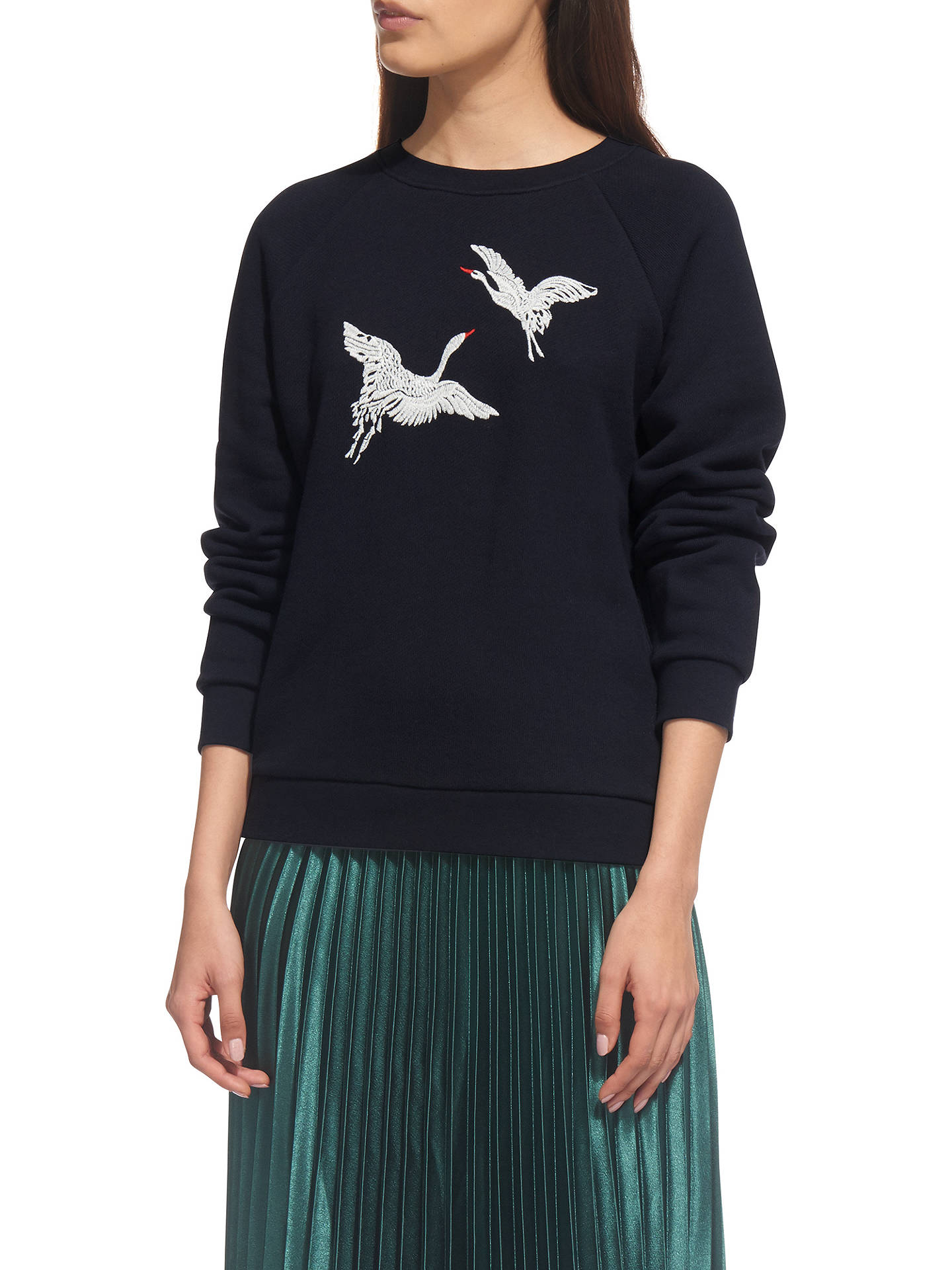 BuyWhistles Crane Embroidered Sweat Top, Navy, XS Online at johnlewis.com