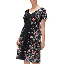 Buy Adrianna Papell Floral Printed Crepe Scuba Plus Dress, Black/Multi Online at johnlewis.com