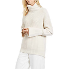 Buy Jaeger Ribbed Cowl Neck Jumper, Ivory Online at johnlewis.com