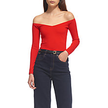 Buy Whistles Bardot Long Sleeve Top, Red Online at johnlewis.com