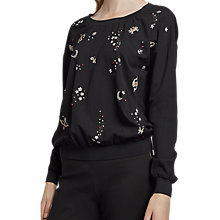 Buy French Connection Zodiac Crepe Light Crew Neck Top, Black Online at johnlewis.com