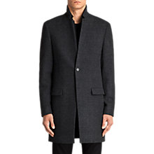 Buy AllSaints Reed Slim Fit Check Overcoat, Charcoal Online at johnlewis.com