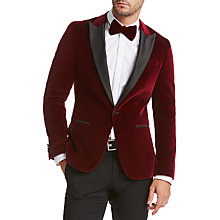 Buy HUGO by Hugo Boss Chadly Velvet Slim Fit Dress Jacket, Dark Red Online at johnlewis.com