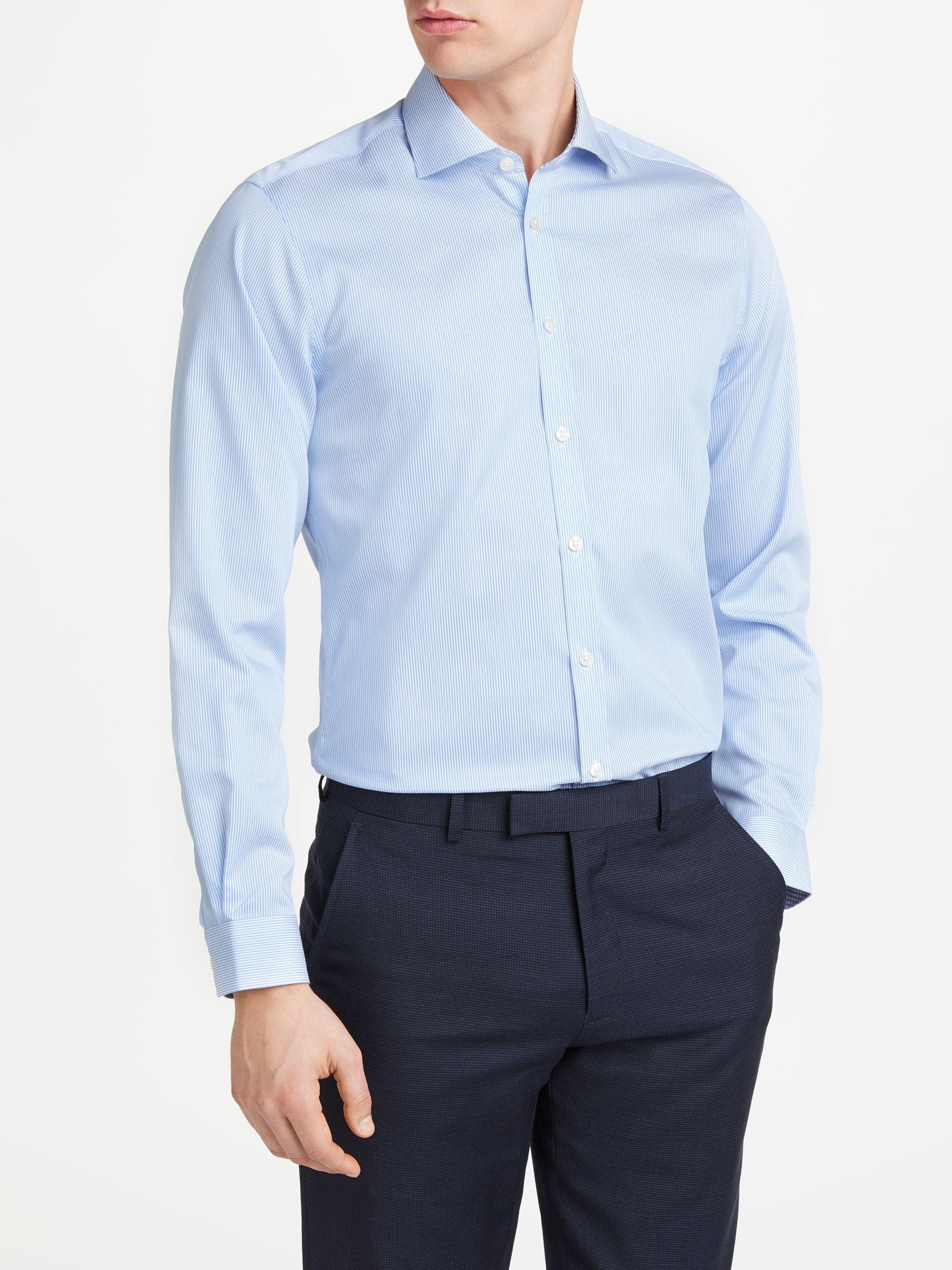 d1ec653ca204 John Lewis & Partners Non Iron Bengal Stripe Slim Fit Shirt, Blue at John  Lewis & Partners