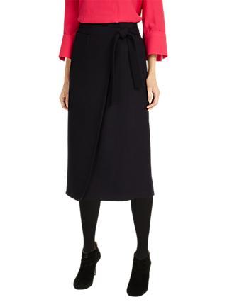 4db0b47000 Phase Eight Emeraude Cross Front Skirt, Navy