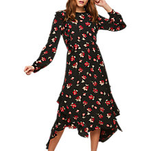 Buy Miss Selfridge Floral Frill Dress, Black Online at johnlewis.com